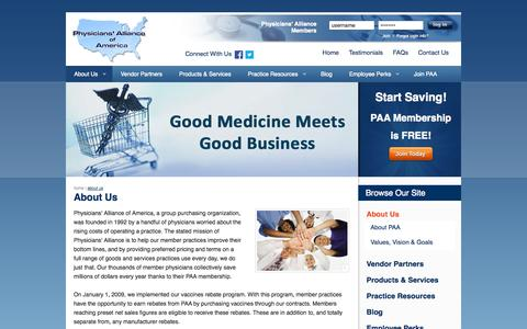 Screenshot of About Page physall.com - Non-Profit Group Purchasing Organization, Vaccine Rebate Program | About Us | Physicians' Alliance of America - captured Oct. 2, 2014
