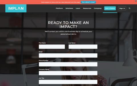 Screenshot of Signup Page implan.com - Demo Request - captured Dec. 3, 2019