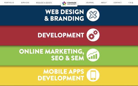 Screenshot of Services Page comradeweb.com - Services - Comrade Web Services Chicago - captured Sept. 19, 2014
