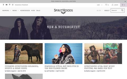 Screenshot of Press Page spirithoods.com - New & Noteworthy - captured April 25, 2018