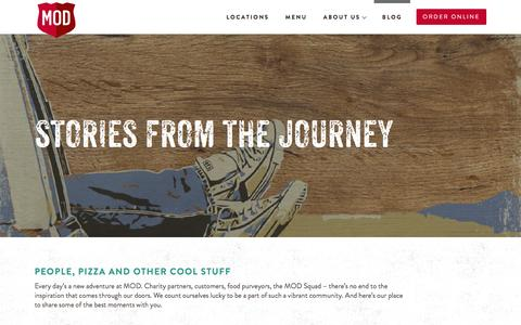 Screenshot of Blog modpizza.com - Stories from the Journey | MOD Pizza - captured Dec. 21, 2016