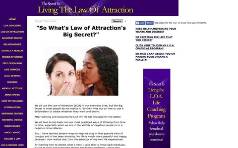 Screenshot of Home Page thesecrettolivingthelawofattraction.com - Using The Law of Attraction to Attract Whatever You Want And Desire! - captured Jan. 14, 2016