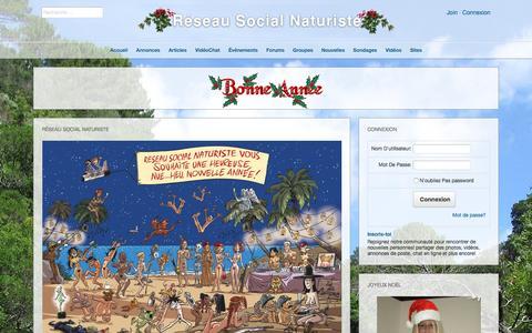 Screenshot of Home Page reseau-naturiste.org - RŽseau Social Naturiste - captured Jan. 17, 2016