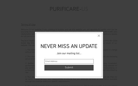Screenshot of Terms Page purificare-us.com - Terms of Use - captured Nov. 5, 2018