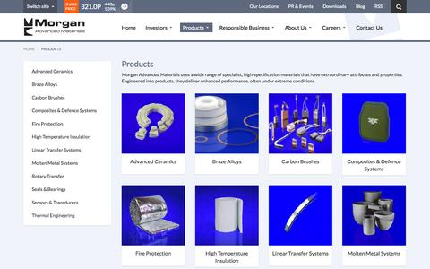 Screenshot of Products Page morganadvancedmaterials.com - Products | Morgan Advanced Materials - captured Sept. 19, 2014