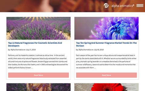 Screenshot of Blog alphaaromatics.com - The Aroma Branding Blog | Fragrance Industry News | Alpha Aromatics - captured July 29, 2018