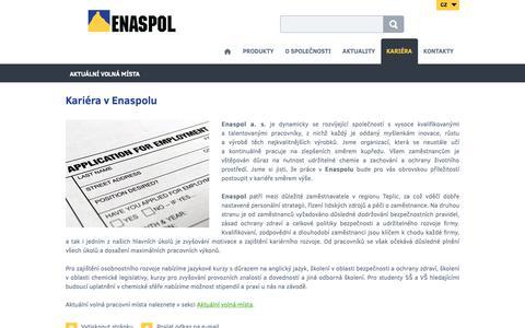 Screenshot of Jobs Page enaspol.cz - Kariéra v Enaspolu - Enaspol a. s. - captured Sept. 28, 2018