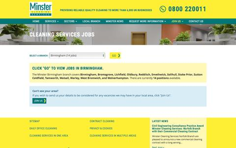 Screenshot of Jobs Page minstercleaning.co.uk - Cleaning Services Jobs | Minster Cleaning Services, UK | - captured Dec. 3, 2016
