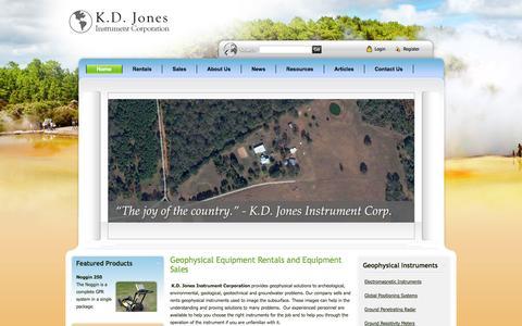 Screenshot of Home Page kdjonesinstruments.com - Geophysical Instruments for Subsurface Imaging Rentals- K.D. Jones Instruments > Home - captured Oct. 6, 2014