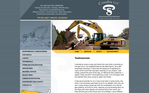Screenshot of Testimonials Page crossfire-llc.com - Crossfire, LLC | Client Testimonials - captured Sept. 30, 2014