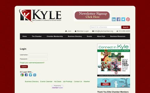 Screenshot of Login Page kylechamber.org - Login - Kyle Area Chamber of Commerce and Visitor's Bureau, TX - captured Nov. 27, 2016