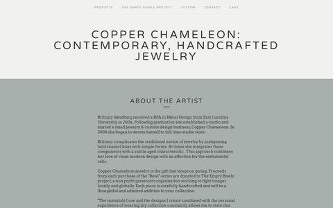 Screenshot of About Page copperchameleon.com - About the Artist / Copper Chameleon: contemporary, handcrafted jewelry - captured May 22, 2017