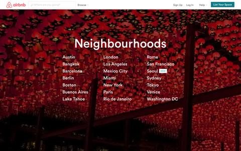 Screenshot of Locations Page airbnb.ca - Airbnb Neighbourhoods - Your Local Travel Guide - captured Oct. 29, 2014