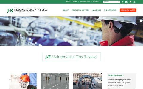 Screenshot of Press Page je-bearing.com - News | J/E Bearing and Machine - captured Feb. 2, 2016
