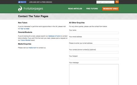 Screenshot of Contact Page thetutorpages.com - The Tutor Pages - Contact The Tutor Pages - captured Aug. 31, 2016