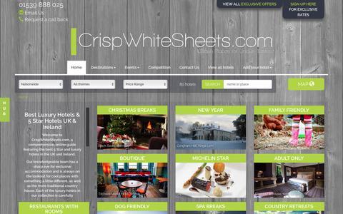 Screenshot of Home Page crispwhitesheets.com - Best Luxury Hotels & 5 Star Hotels UK & Ireland - CrispWhiteSheets - captured Sept. 14, 2017
