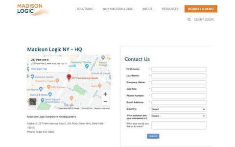 Screenshot of Contact Page madisonlogic.com - Contact Us - Account-Based Marketing from Madison Logic - captured Nov. 3, 2019