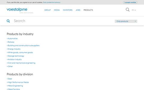 Screenshot of Products Page voestalpine.com - voestalpine products & product search - voestalpine - captured Jan. 15, 2018