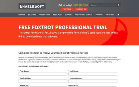 Screenshot of Trial Page enablesoft.com - FREE FOXTROT PROFESSIONAL TRIAL - - captured Nov. 18, 2015