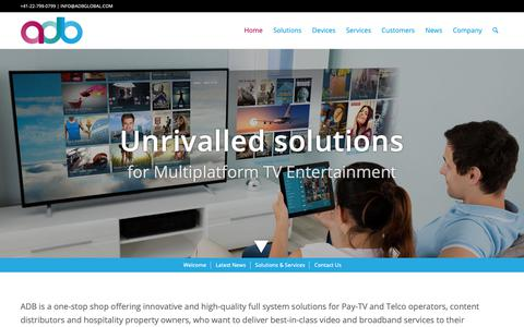 Screenshot of Home Page adbglobal.com - Solutions for TV and Broadband - ADB - captured May 13, 2019