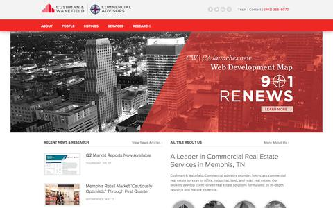 Screenshot of Home Page commadv.com - Cushman & Wakefield | Commercial Advisors, Commercial Real Estate - Memphis, TN - captured Aug. 15, 2017