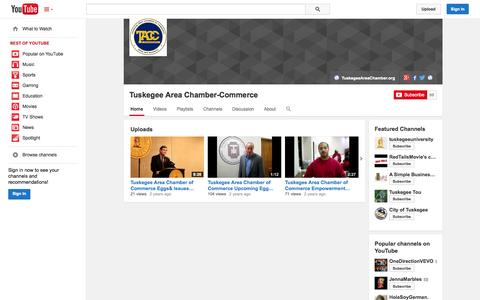 Screenshot of YouTube Page youtube.com - Tuskegee Area Chamber-Commerce  - YouTube - captured Oct. 26, 2014