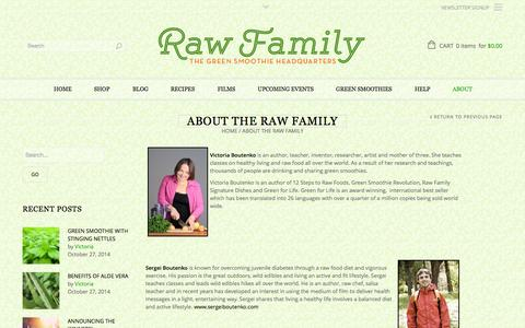 Screenshot of About Page rawfamily.com - About the Raw Family | Raw Family - captured Oct. 31, 2014