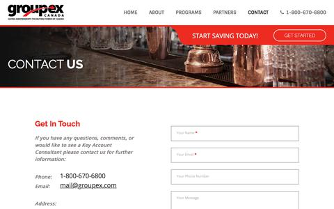 Screenshot of Contact Page groupex.com - Contact - Groupex Systems Canada Inc - captured Sept. 25, 2018