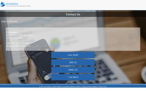 Screenshot of Contact Page l3analytics.com - Get in touch - L3 Analytics - captured July 16, 2015