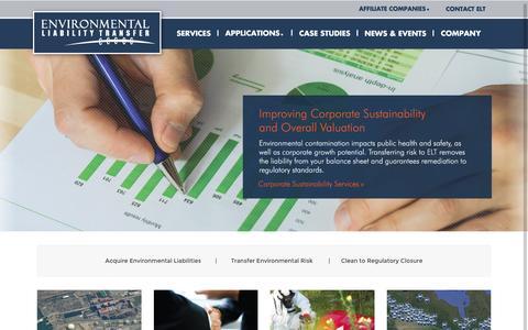 Screenshot of Home Page eltransfer.com - Environmental Liability Transfer | Environmental Liability Transfer - captured Jan. 22, 2016