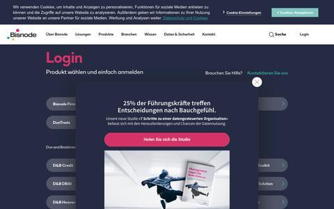 Screenshot of Login Page bisnode.de - Bisnode Produktlogin: Produkt wählen und anmelden - Bisnode.de - captured Nov. 5, 2019