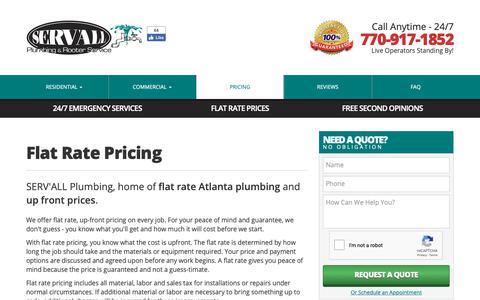 Screenshot of Pricing Page servallplumbing.com - Pricing   SERV'ALL Plumbing - captured Oct. 1, 2018