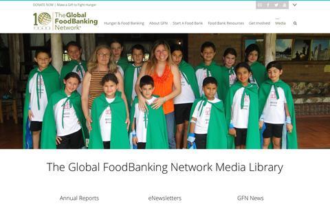 Screenshot of Press Page foodbanking.org - Media Library - The Global FoodBanking Network - captured Nov. 30, 2016