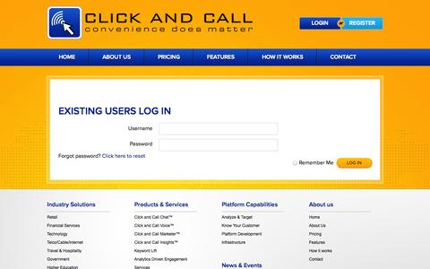 Screenshot of Login Page clickandcall.com - Login Page | Click and Call - captured Sept. 30, 2014