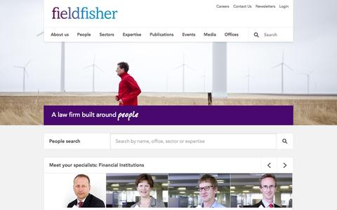 Screenshot of Home Page fieldfisher.com - A law firm built around people - Fieldfisher - captured Sept. 19, 2014