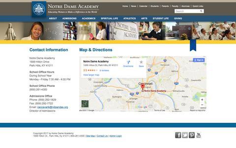 Screenshot of Contact Page ndapandas.org - Notre Dame Academy > Contact Us - captured April 27, 2017