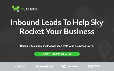 Screenshot of Home Page webkinetics.co.uk - Web Kinetics bespoke digital marketing management - captured June 11, 2017