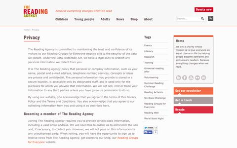 Screenshot of Privacy Page readingagency.org.uk - Privacy | Reading Agency - captured Oct. 6, 2014