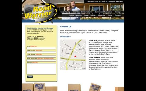 Screenshot of Contact Page Maps & Directions Page roadwarriormoving.com - Contact Road Warrior Moving and Storage - captured Oct. 25, 2014