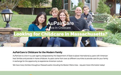 Screenshot of Landing Page aupaircare.com - Au Pair Childcare in Massachusetts - captured March 9, 2017