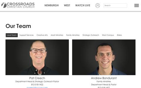Screenshot of Team Page cccgo.com - Our Team  - Crossroads Christian Church - captured Nov. 8, 2018