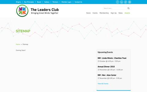 Screenshot of Site Map Page theleadersclub.org - Sitemap | The Leaders Club - captured Oct. 20, 2018