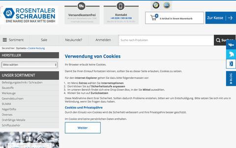Screenshot of Login Page rosentaler-schrauben.de - Cookie-Nutzung - captured June 14, 2018