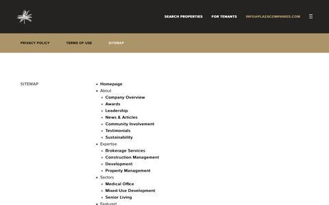 Screenshot of Site Map Page theplazaco.com - Sitemap - Plaza Companies - captured Sept. 28, 2018