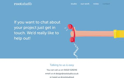 Screenshot of Contact Page rootstudio.co.uk - Contact Root Studio about your next project - captured Sept. 30, 2014
