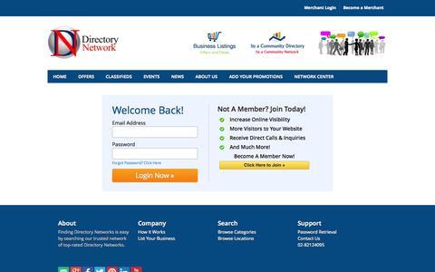 Screenshot of Login Page directorynetwork.com.au - Directory Network Login - Directory Network Directory - Directory Network Profile Listing - captured Sept. 24, 2014