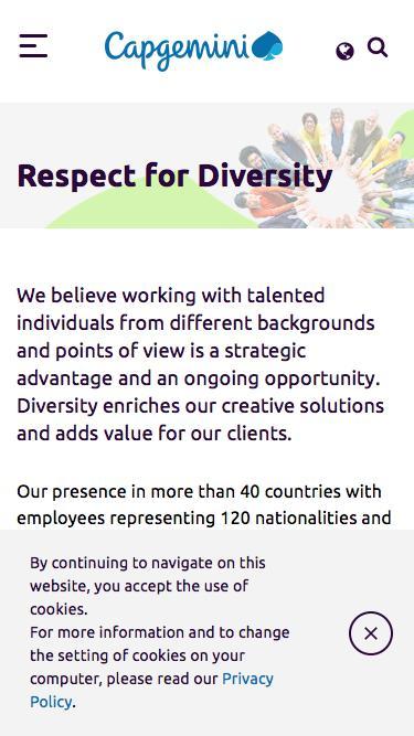 Screenshot of Jobs Page  capgemini.com - Respect for Diversity
