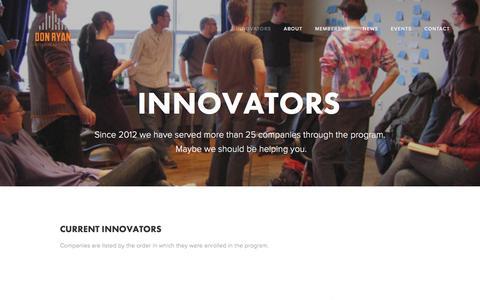 Screenshot of Menu Page ryan-innovation-center.com - Innovators — Don Ryan Center for Innovation - captured Feb. 9, 2016