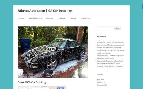 Screenshot of Contact Page atlantaautosalon.com - Roswell GA Car Detailing, Clear Bra, Paint Correction shop - captured Aug. 2, 2015