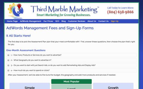 Screenshot of Signup Page thirdmarblemarketing.com - AdWords Management Fees | Prices for AdWords Services - captured Sept. 30, 2014
